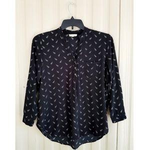 Kaii Arrow Blouse Black Top Shirt 3/4 Sleeve Cute!
